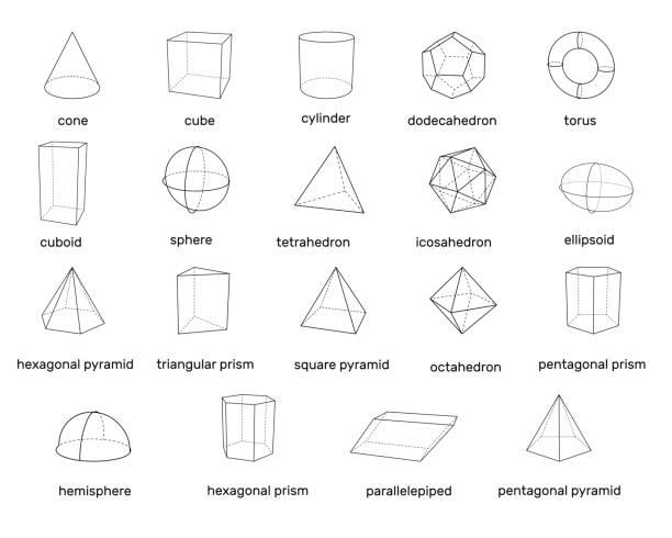 stockillustraties, clipart, cartoons en iconen met 3d geometrische basisvormen. geïsoleerd op een witte achtergrond. vectorillustratie. - veelvlakkig