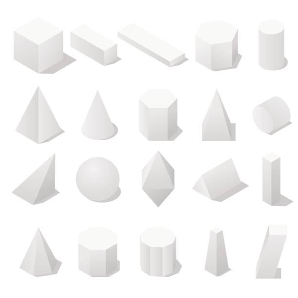 ilustrações de stock, clip art, desenhos animados e ícones de basic 3d geometric shapes with a shadow. - cilindro formas geométricas