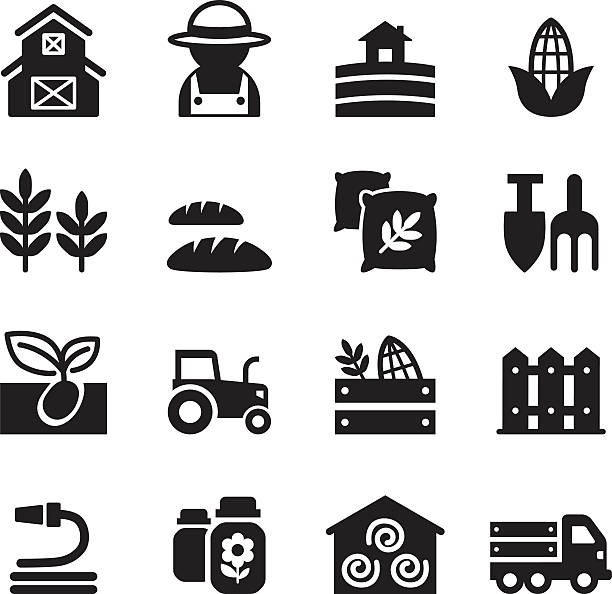 Basic Agriculture and Farming icons set Basic Agriculture and Farming icons set pitchfork agricultural equipment stock illustrations