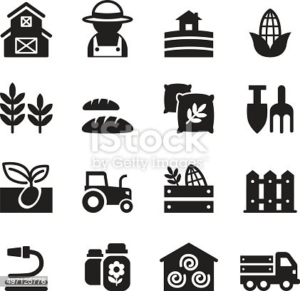 Basic Agriculture And Farming Icons Set Stock Vector Art