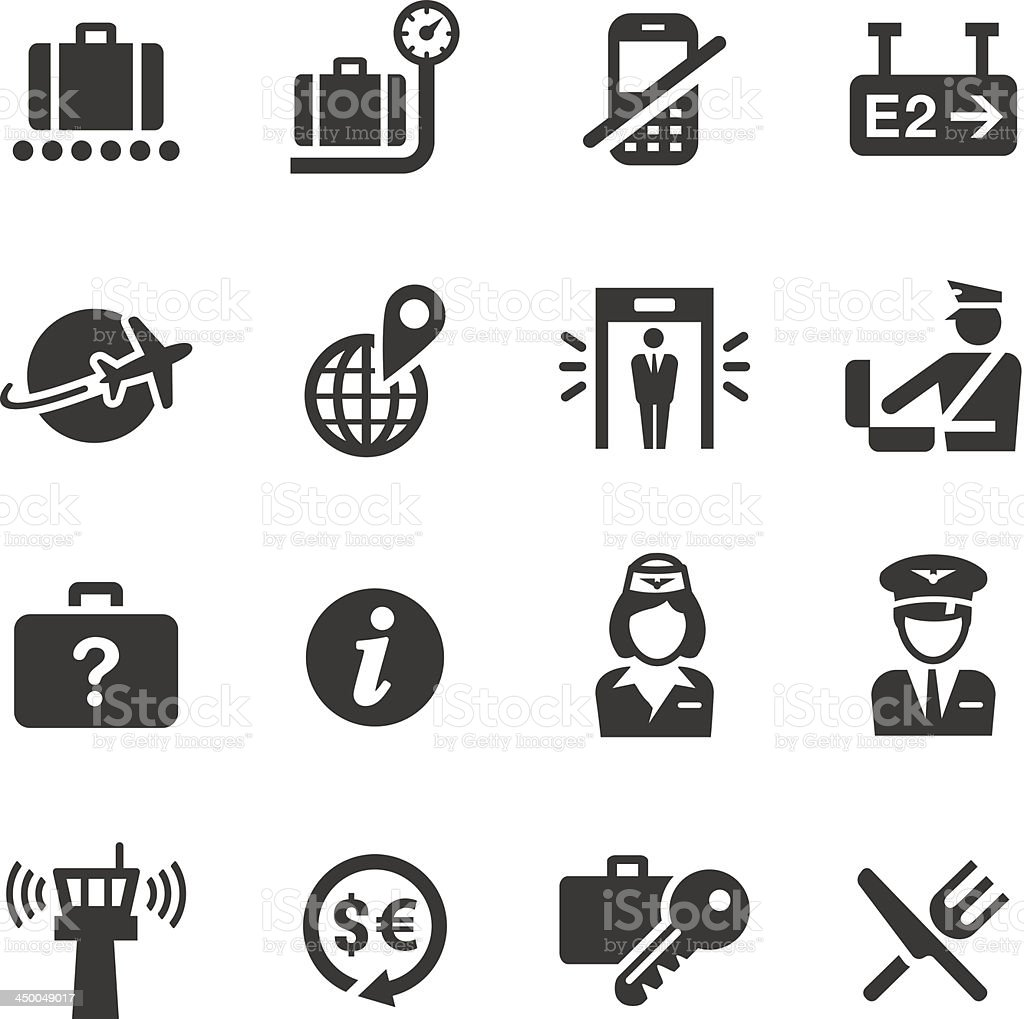 Basic - Airport and Travel icons vector art illustration