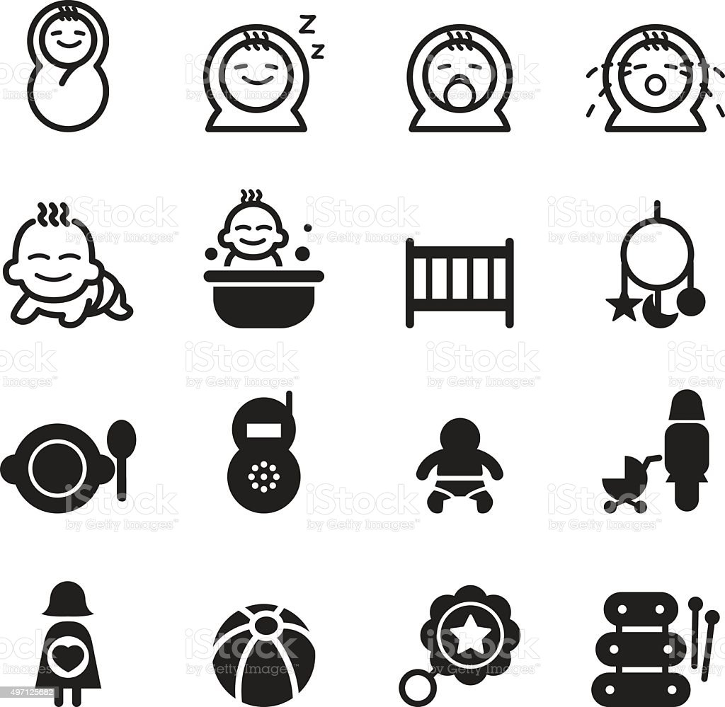 Basic Baby Icon Seth Stock Vector Art More Images Of 2015