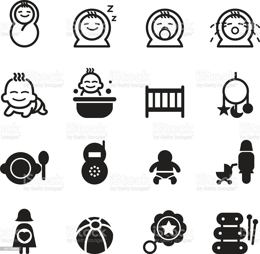 Basic Baby icon seth vector art illustration