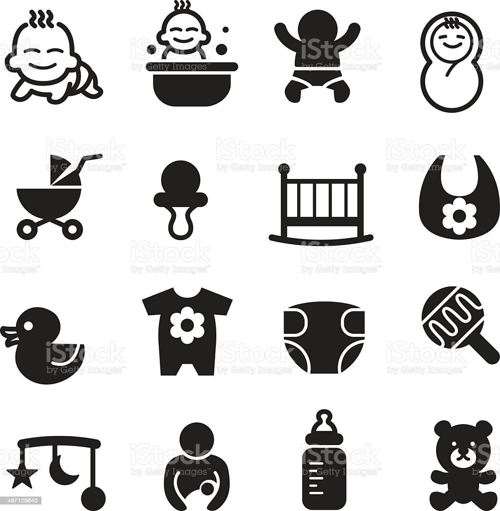 Basic Baby icons set Vector illustration vector art illustration