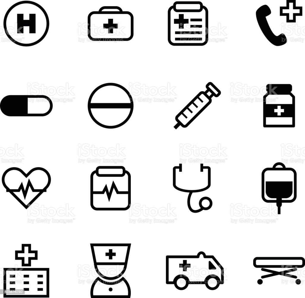 16 Basic black color icon set for medical and healthcare business on white background vector art illustration