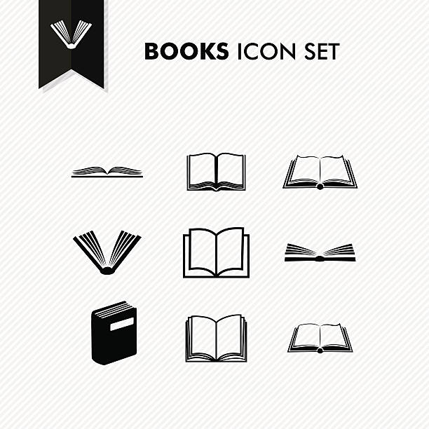 Basic Books icon set isolated Basic books icon set isolated over white. Vector file organized in layers for easy editing. book silhouettes stock illustrations
