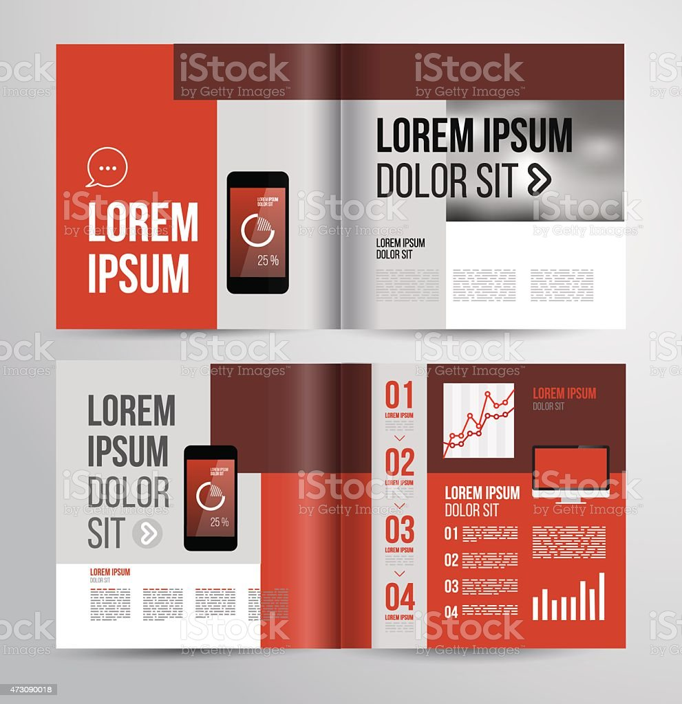 fd6b3799d5dc Basic Brochure Template In Various Shades Of Red Stock Vector Art ...