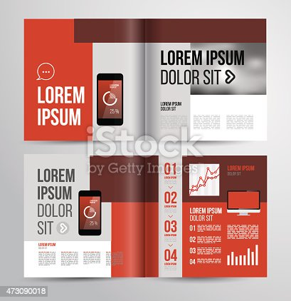 Basic Brochure Template In Various Shades Of Red Stock Vector Art