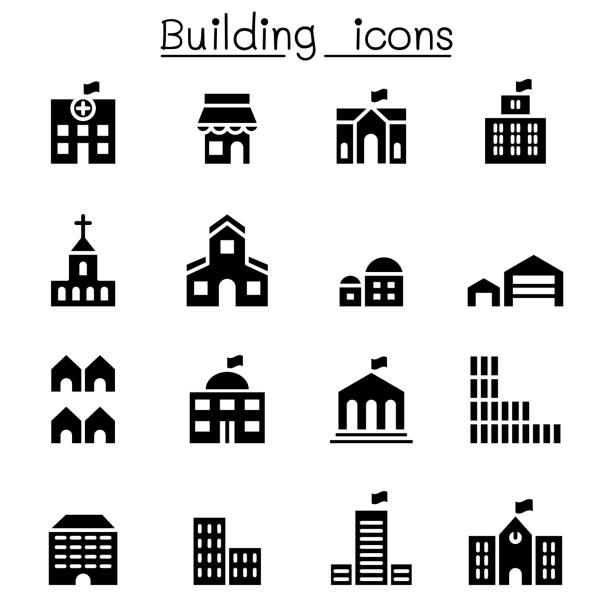 basic building icon set - architecture clipart stock illustrations