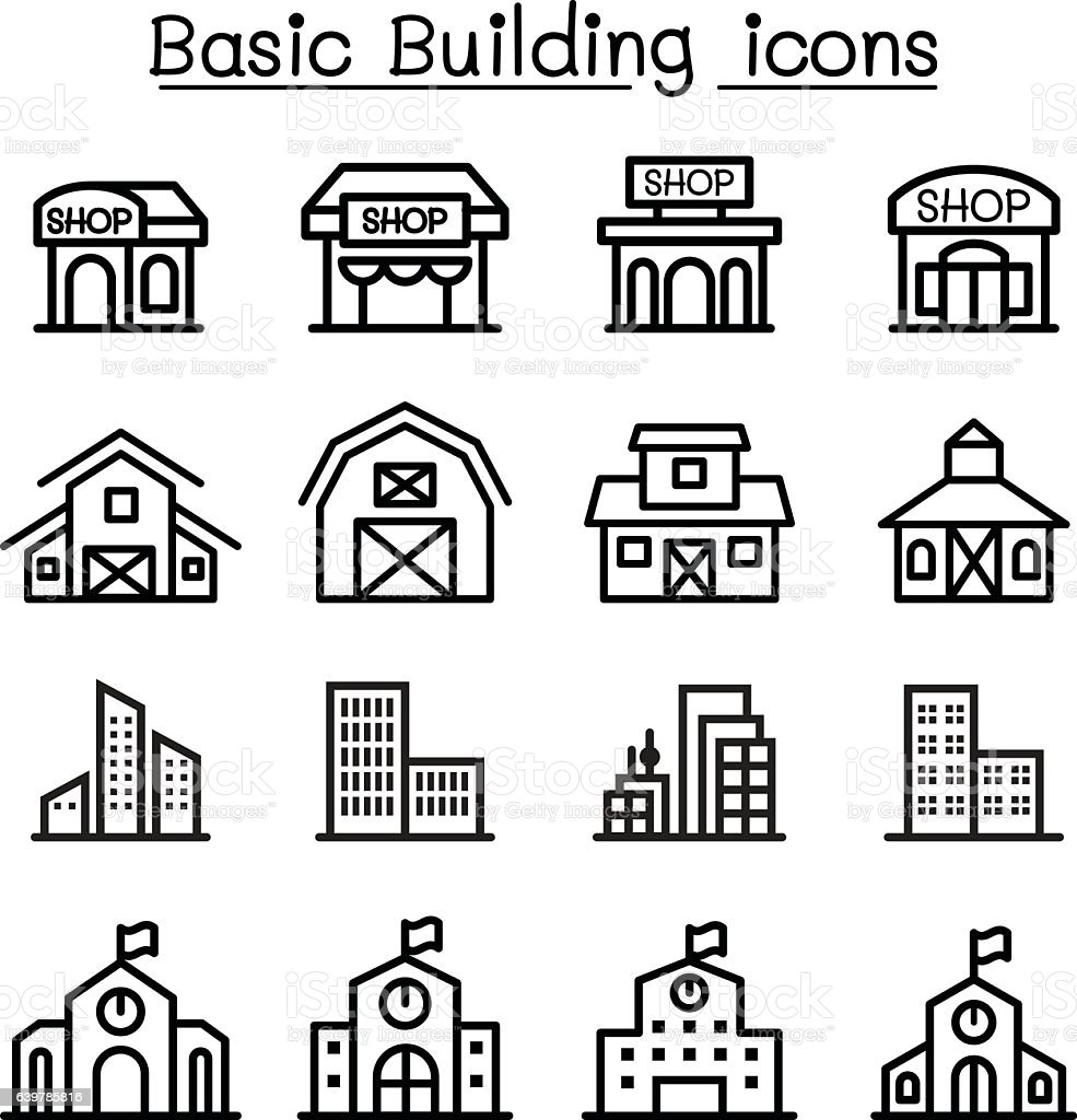 basic building icon set stock vector art  u0026 more images of