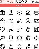 Basic business, internet web interface linear concepts, vector thin line icons set. 32x32 px. Modern line graphic design. Pixel perfect vector outline icons set
