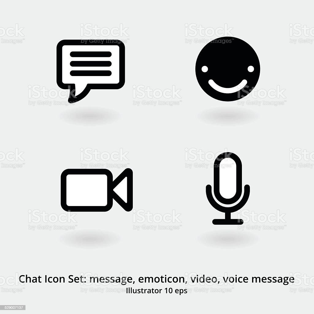 Basic Chat-Icon-Set: Nachricht, Emoticon, Video-Chat-Möglichkeit und Voicemail – Vektorgrafik