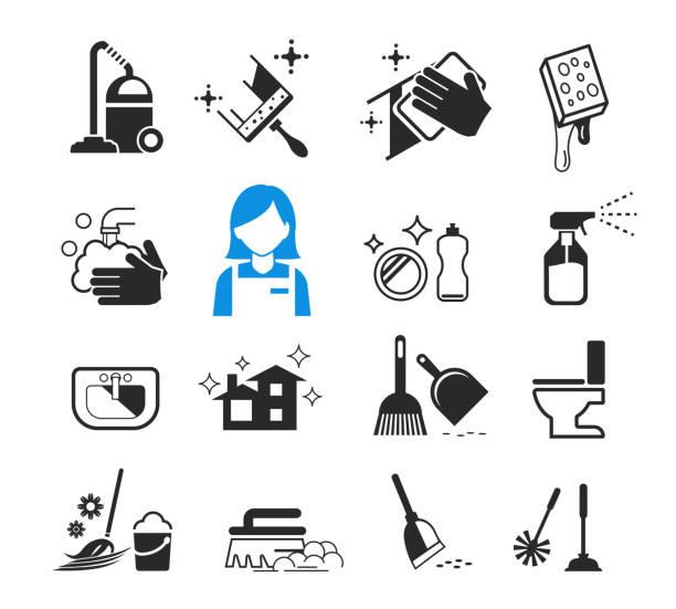 illustrazioni stock, clip art, cartoni animati e icone di tendenza di basic cleaning day icon concept. happy housework. - addetto alle pulizie