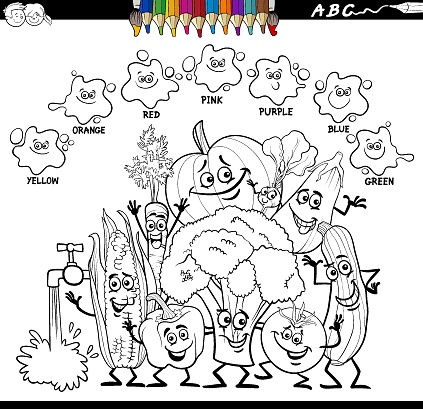 basic colors color book with vegetables characters