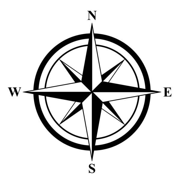 stockillustraties, clipart, cartoons en iconen met fundamentele kompas rose - oost
