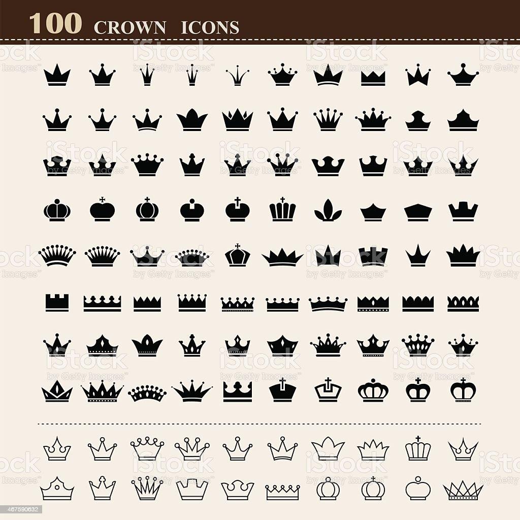 100 basic Crown icons set