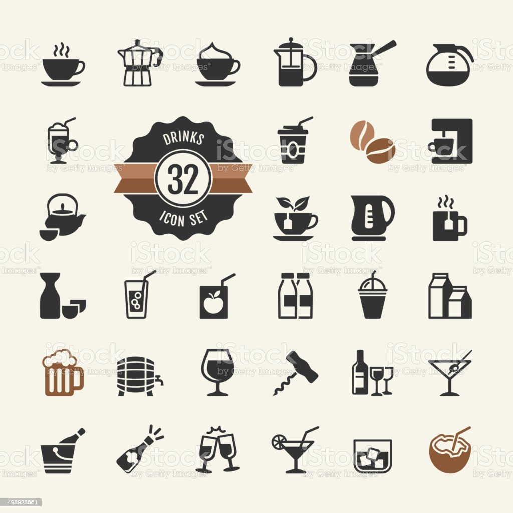 Basic - Drink Icons set vector art illustration