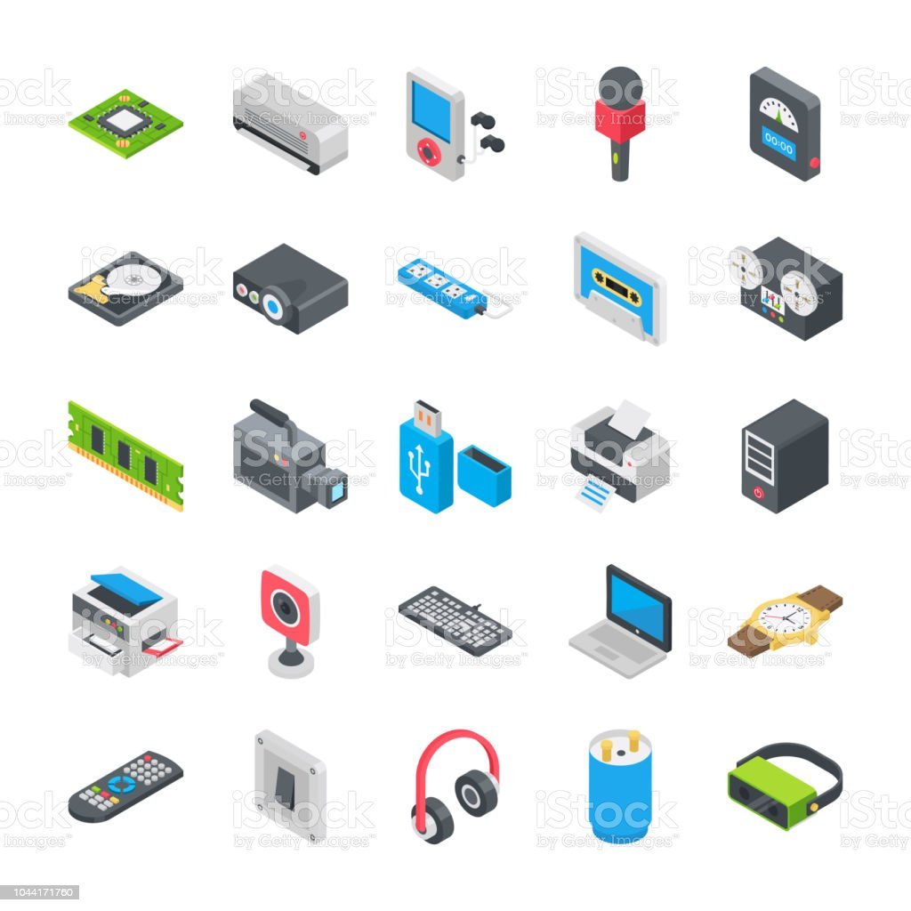 Basic Electronic Devices Icons vector art illustration