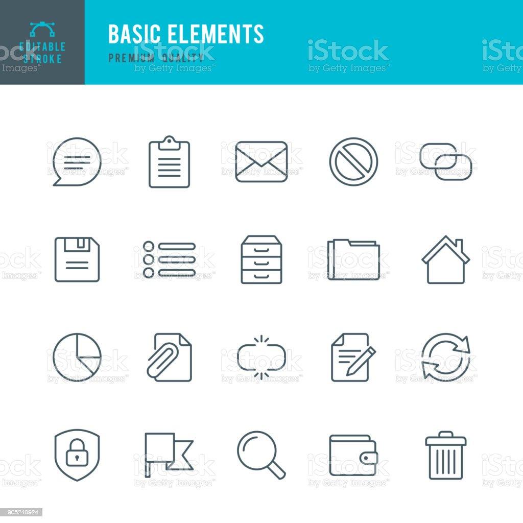 Basic Elements - set of thin line vector icons - Grafika wektorowa royalty-free (Akta)