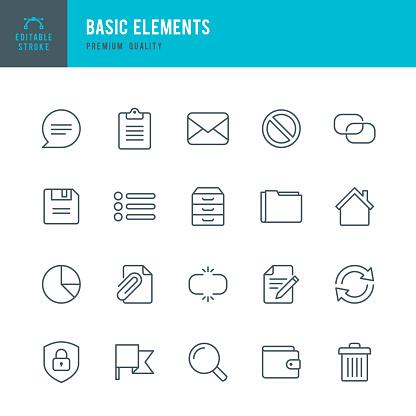 Basic Elements Set Of Thin Line Vector Icons - Stockowe grafiki wektorowe i więcej obrazów Akta