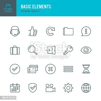 Set of Basic Elements thin line vector icons.