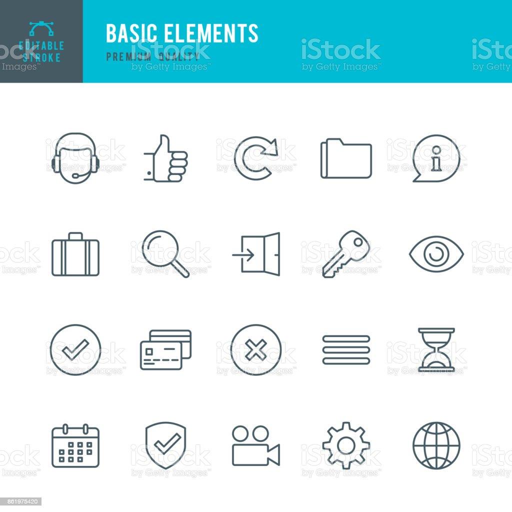 Basic Elements  - Thin Line Icon Set vector art illustration