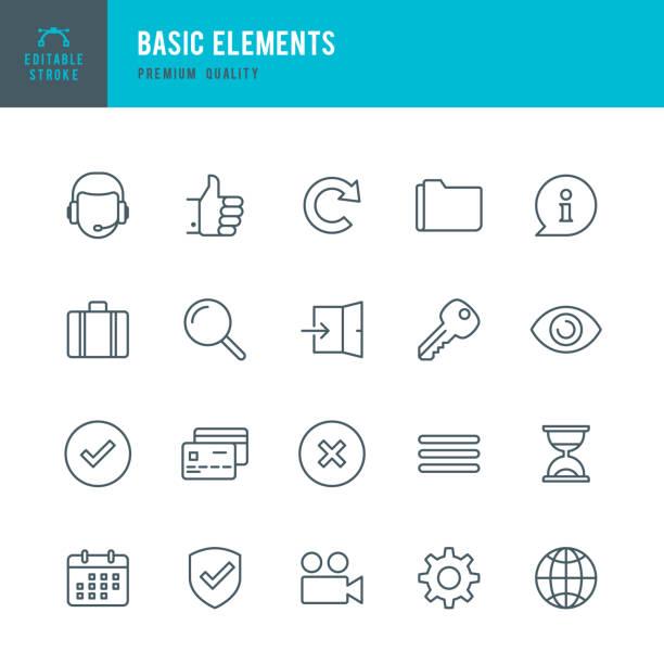 basic elements  - thin line icon set - искать stock illustrations