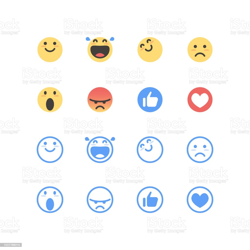 Basic emoticons color and line art