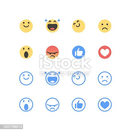 Vector illustration of a set of cute and basic emoticons both in color and line art