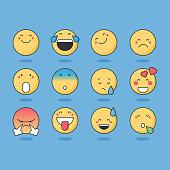Vector illustration of a set of basic emoticons