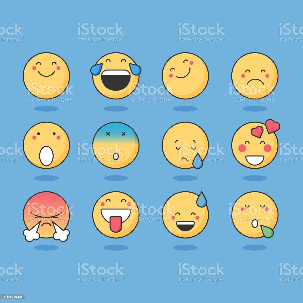 Basic emoticons vector art illustration