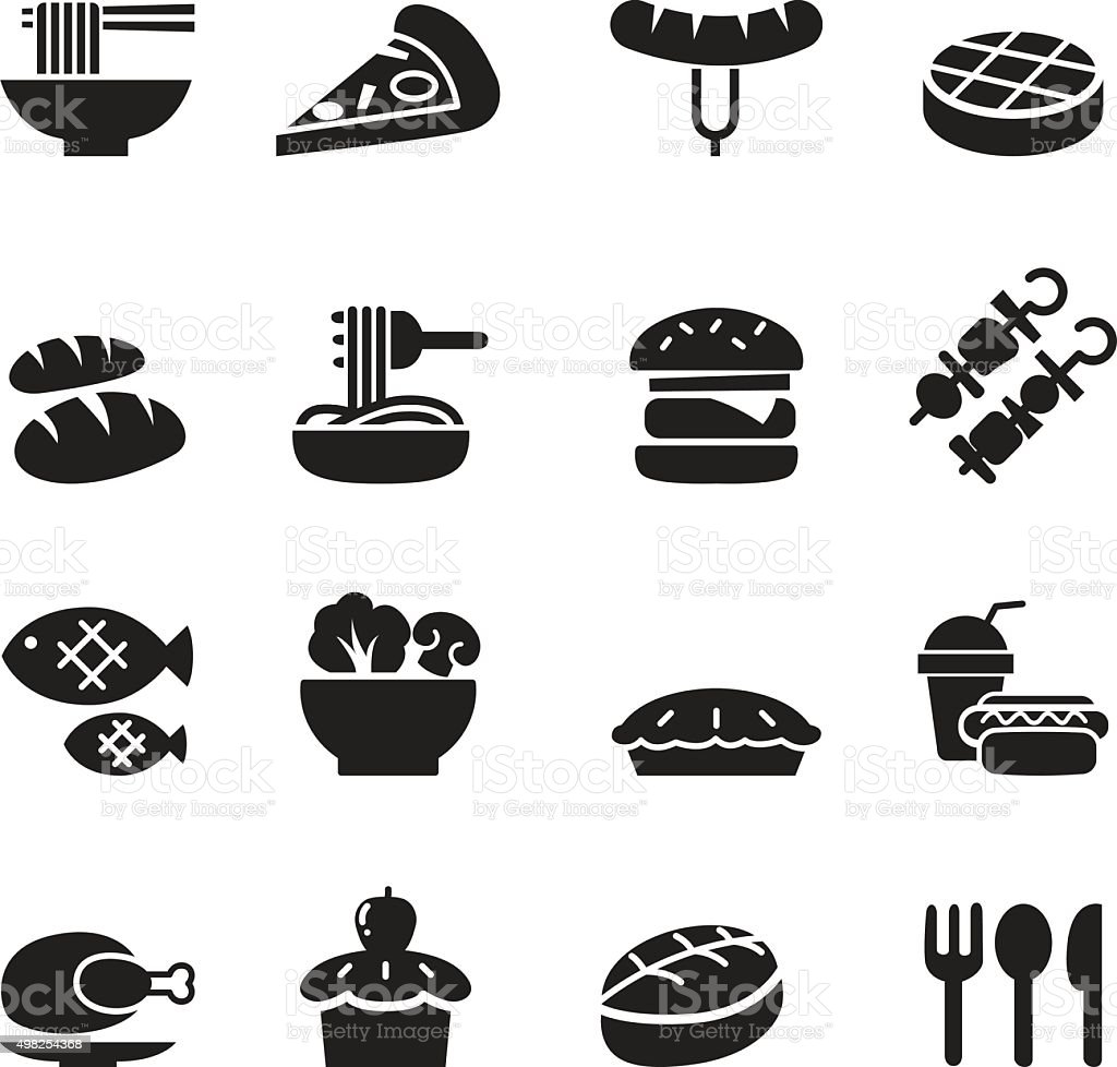 Basic Food and Drink icons set vector art illustration
