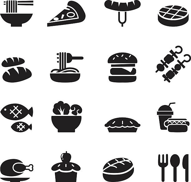 Basic Food and Drink icons set Basic Food and Drink icons set bread silhouettes stock illustrations