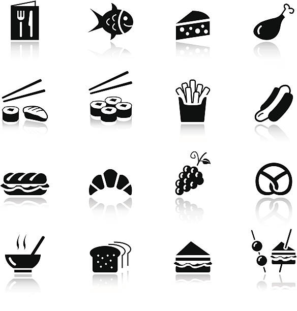 basic-food-icons - lachskuchen stock-grafiken, -clipart, -cartoons und -symbole