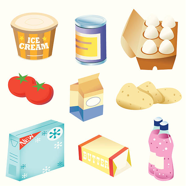 basic foods - russelltatedotcom stock illustrations