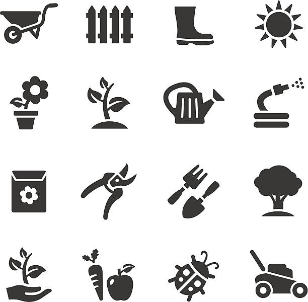 stockillustraties, clipart, cartoons en iconen met basic - gardening icons - kruiwagen
