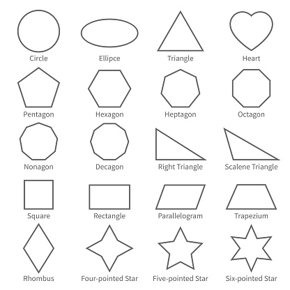 Basic Geometric Outline Flat Shapes Educational Geometry