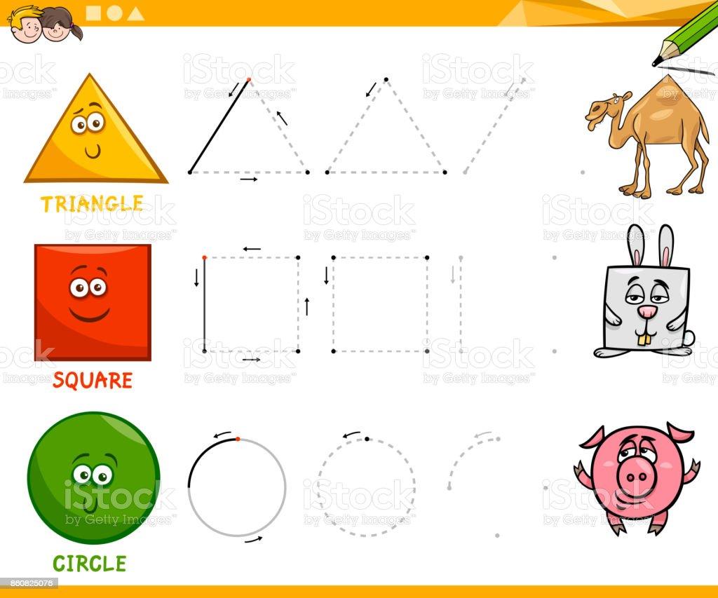 Geometrische Grundformen Zeichnen Arbeitsblatt Stock Vektor Art und ...