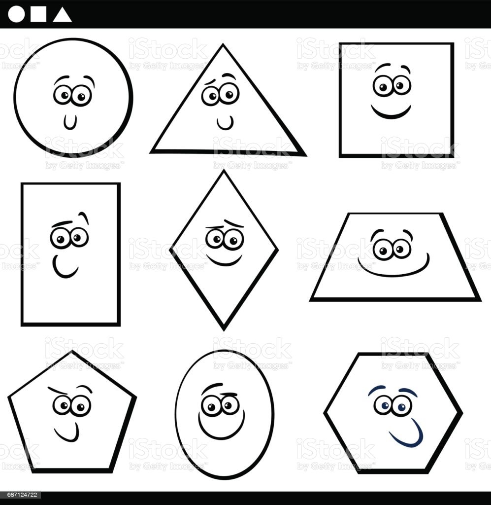 Formas Geométricas Básicas Para Colorear - Arte vectorial de stock y ...