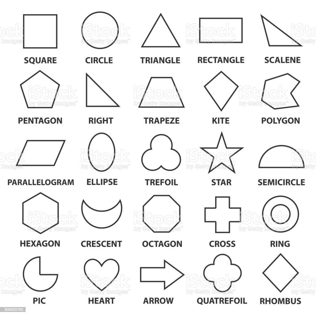 Basic geometric shapes vector art illustration