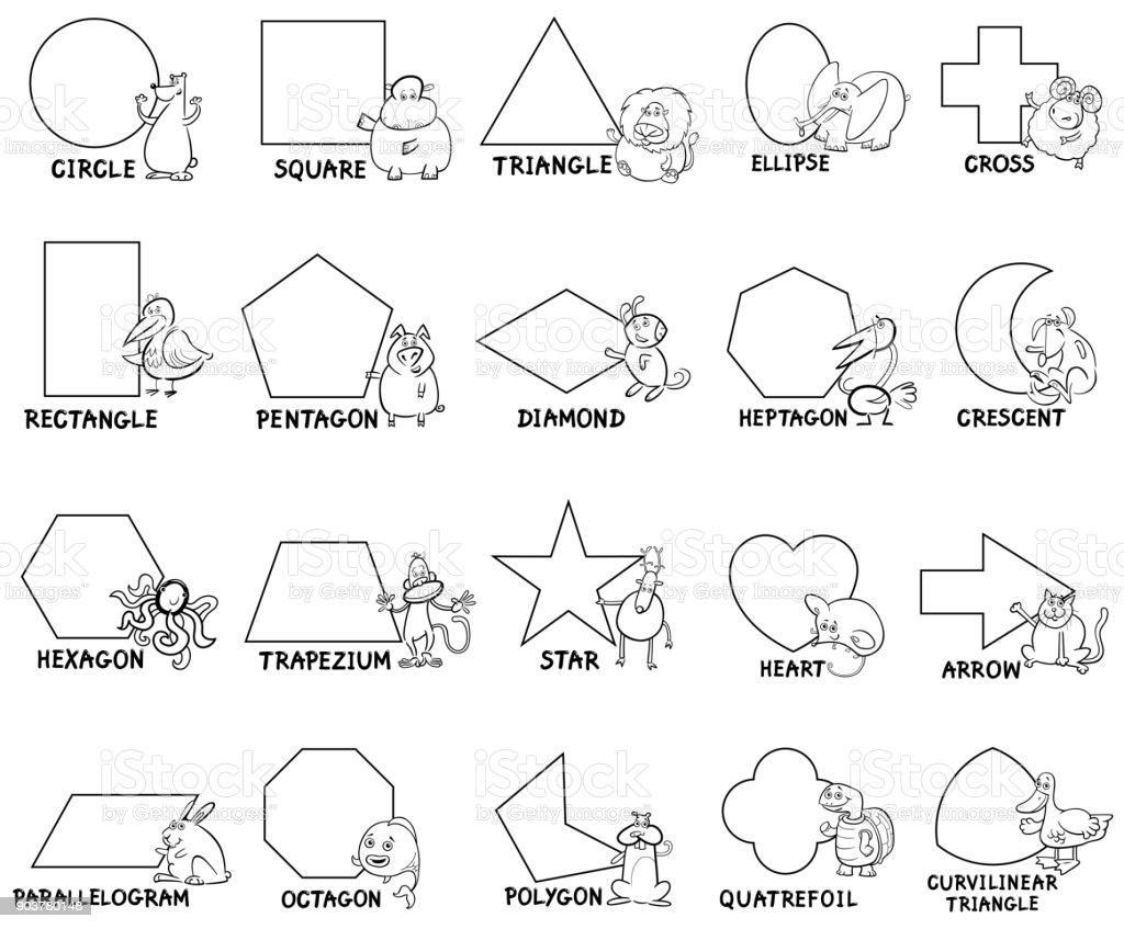 Hayvan Karakterlerle Temel Geometrik şekiller Stok Vektör Sanatı