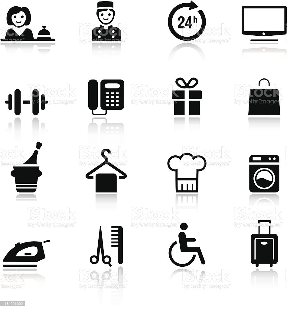 Basic - Hotel icons vector art illustration