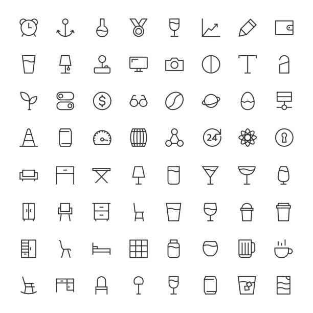 grundlegende symbol 64 icons set 3 - line-serie - funktionssofa stock-grafiken, -clipart, -cartoons und -symbole