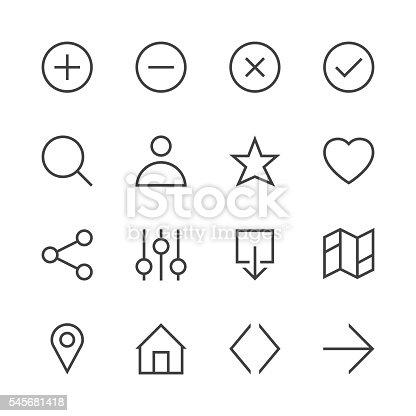 Basic Icon Set 1 Line Series Vector EPS File.