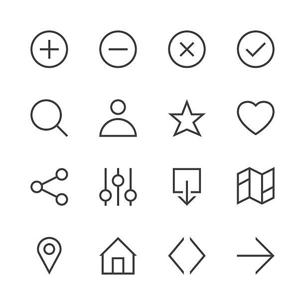 illustrazioni stock, clip art, cartoni animati e icone di tendenza di basic icon set 1 - line series - near