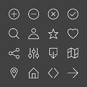 Basic Icon Set 1 - White Line Series