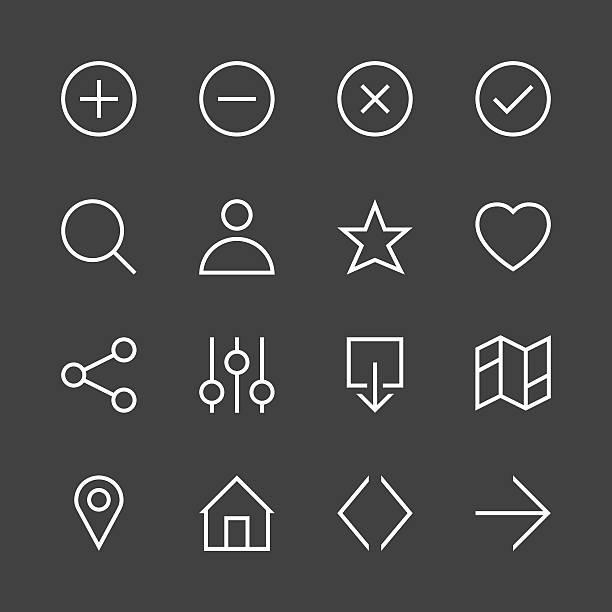 illustrazioni stock, clip art, cartoni animati e icone di tendenza di basic icon set 1 - white line series - near