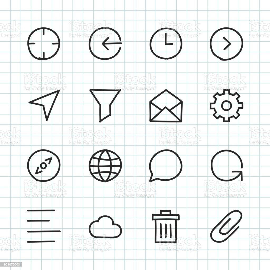 Basic Icon Set 2 - Hand Drawn Series royalty-free stock vector art