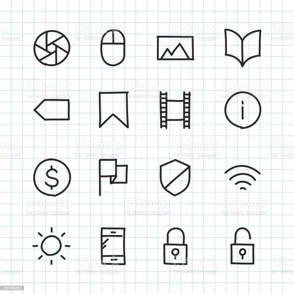 Basic Icon Set 3 - Hand Drawn Series royalty-free stock vector art