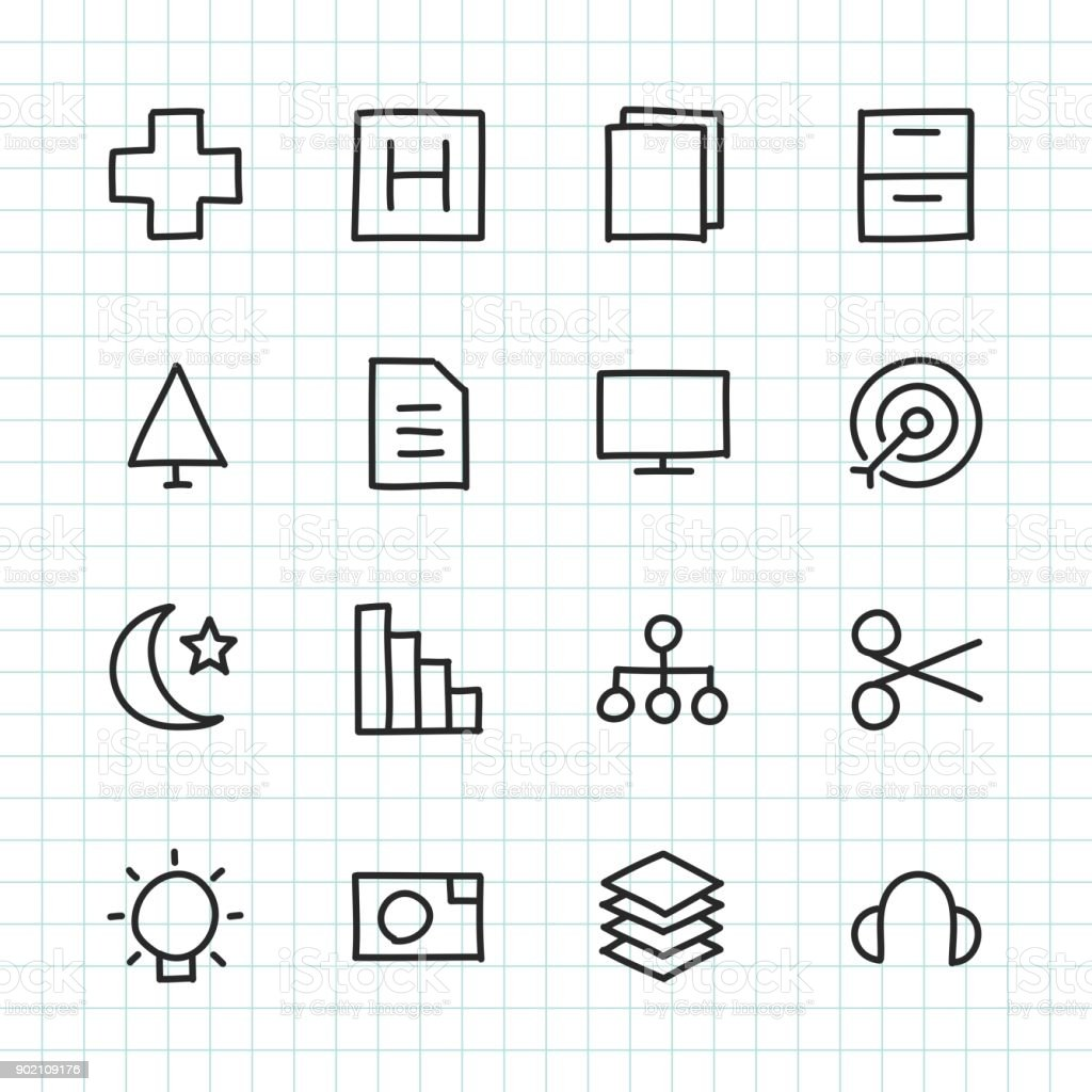 Basic Icon Set 4 - Hand Drawn Series royalty-free stock vector art